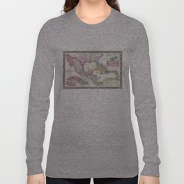 Mexico, Central America and Caribbean Map (1860) Long Sleeve T-shirt