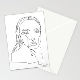 Minimal One Line Art Woman Stationery Cards