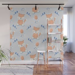 Happy Birthday Orange Fox Light Grey Background Pattern Wall Mural