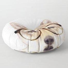 Shiba inu with glasses Dog illustration original painting print Floor Pillow