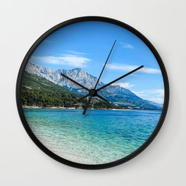 Blue Ocean Beach | Caribbean Island Clear Water Waves in Europe Mountain Landscape Beautiful Sky Wall Clock