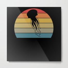 Retro Jellyfish I Sea Creatures Animal Motif Metal Print