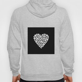 Simple black and white pattern .heart black polka dots .  2 Hoody