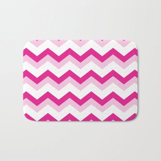 Pink & White Chevron Pattern - Zig Zag for your summer Bath Mat