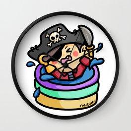 Pirate screaming skull kiddie pool Wall Clock