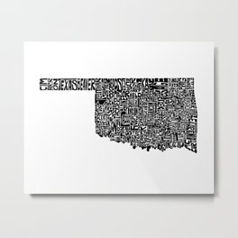 Typographic Oklahoma Metal Print