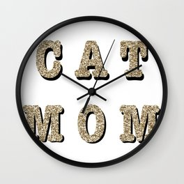 Cat mom (gold) Wall Clock