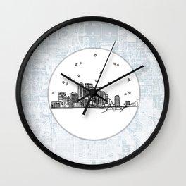 Minneapolis, Minnesota City Skyline Illustration Drawing Wall Clock