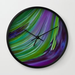 Purple Green Contemporary Abstract Wall Clock