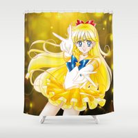 sailor venus Shower Curtains featuring Eternal Sailor Venus by Yue Graphic Design