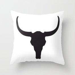 Deserted Land - Longhorn Skull Throw Pillow