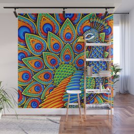 Colorful Paisley Peacock Rainbow Bird Wall Mural
