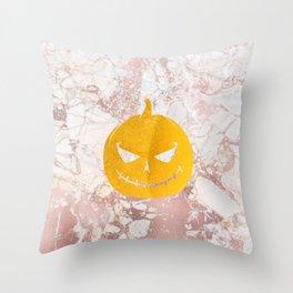 Golden Halloween Pumpkin Face on Rosegold Throw Pillow