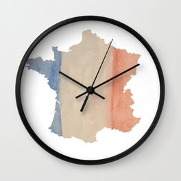 France Outlne with Tri-color Flag in Watercolors Wall Clock