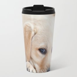 Yellow Labrador Puppy Resting on Bed Travel Mug