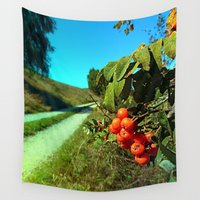 hiking Wall Tapestries featuring Some berries and a hiking trail by Patrick Jobst