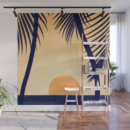 Retro Golden Sunset - Tropical Scene Wall Mural