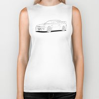 subaru Biker Tanks featuring Subaru Impreza 22B STI Type UK Line Illustration by Digital Car Art