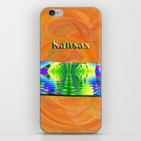 kansas iPhone & iPod Skins featuring Kansas Map by Roger Wedegis