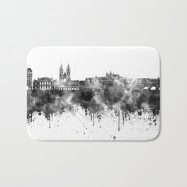Prague skyline in black watercolor  Bath Mat