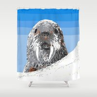 walrus Shower Curtains featuring Walrus by wingnang