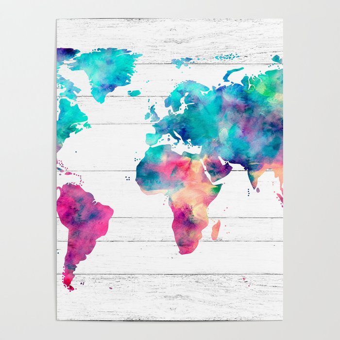 World Map Watercolor Paint on White Wood Poster