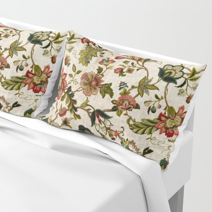 Red Green Jacobean Floral Embroidery Pattern Kissenbezug