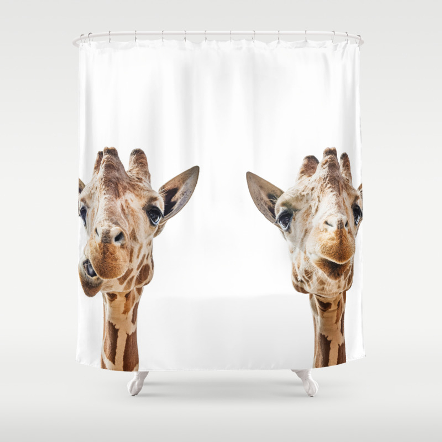 Funny Giraffe Portrait Art Print Cute Animals Safari Animal Nursery Kids Room Poster Wall Shower Curtain