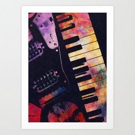 piano and guitar art #piano #guitar #music Art Print