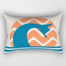 Hang Loose Wave // Sun Surfer Shaka Beach Retro Graphic Design Horizontal Daze Waves Rectangular Pillow