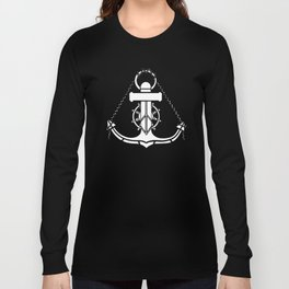Anchor and Steering Helm [Outline] Long Sleeve T-shirt