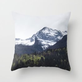 Winter and Spring - green trees and snowy mountains Throw Pillow