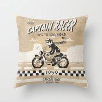 cafe racer Throw Pillows featuring CAPTIAN RACER by Morselli Mattia