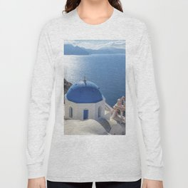 Santorini Island with churches and sea view in Greece Long Sleeve T-shirt