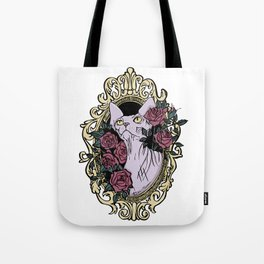 Point Seal Lilac Sphynx Cat in a Golden Baroque frame with Blush Roses Tote Bag