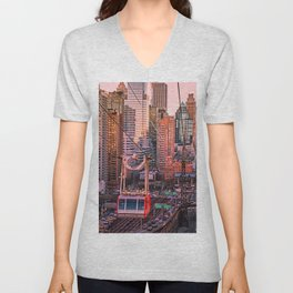 New York City - Skyscrapers and Tram Unisex V-Neck