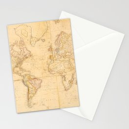 Vintage Map of The World (1818) Stationery Cards