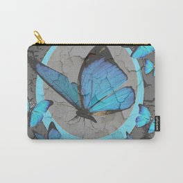 SHABBY CHIC  NEON BLUE BUTTERFLIES  & CHARCOAL GREY  N MOD Carry-All Pouch