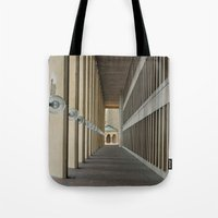 outdoor Tote Bags featuring Outdoor Corridor by Kevin Myron