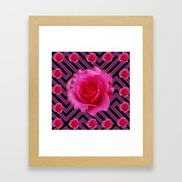 FUCHSIA PINK ROSES ON PUCE-BLACK GRAPHIC Framed Art Print