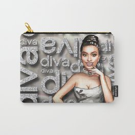 Retro Pinup Girl & Diva Typography Carry-All Pouch