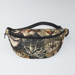 cat collage our beloved kitten cats watercolor splatters Fanny Pack