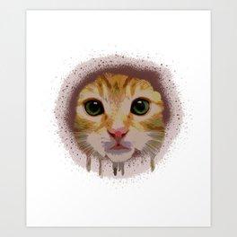 Cat Rainbow Face Art Print
