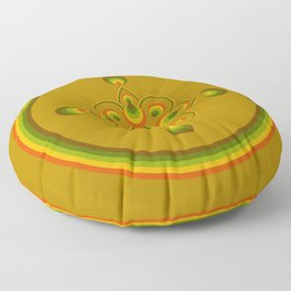 70s Circle Designs - Orange, Brown, Green Floor Pillow