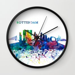 Rotterdam Holland Skyline Silhouette Impressionistic Splash Wall Clock