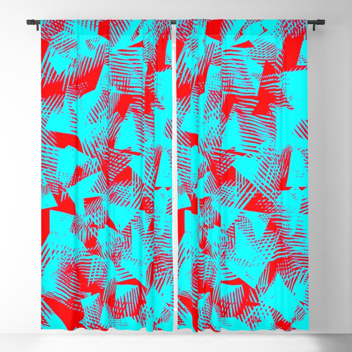 Abstract Cyan Blue Color Shapes Against Red Background Pattern Design Blackout Curtain By Agnieszkazalewska