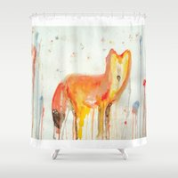 mr fox Shower Curtains featuring Mr. Fox by Kacieeface Studio