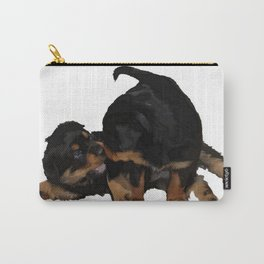 Rottweiler Puppies Playing Vector Isolated Carry-All Pouch