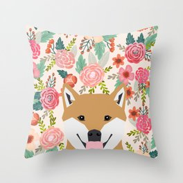 Shiba Inu florals spring summer bright girly hipster dog meme shiba ink puppy pet portraits Throw Pillow