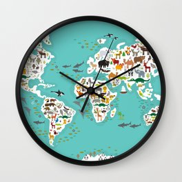 Cartoon animal world map for children and kids, Animals from all over the world Wall Clock